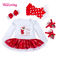 Christmas Baby Clothes Snowflake Long Sleeve Newborn Romper Dress Baby Girls Clothes Set 4pcs New Year