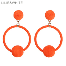 Фотография LILIE&WHITE New Round Wrapped Balls And Circle Geometric Earrings For Girls Ethnic Drop Earring For Women Jewelry Gift HC