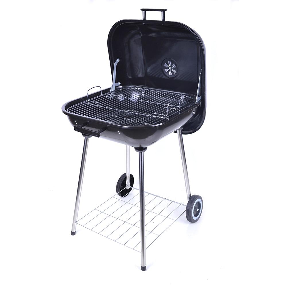 Offre spéciale quatre pieds avec poulie Barbecue Barbecue Barbecue Charbon De Bois avec couvercle pour fête De famille noir 21 pouces Charbon De Bois Grill fumeur