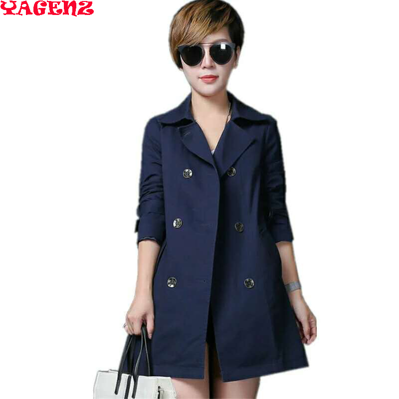 100% Cotton Plus Size Navy Coat Female 2017 Spring Autumn Windbreaker Women European   Trench   Coat Para As Mulheres Women's Coat