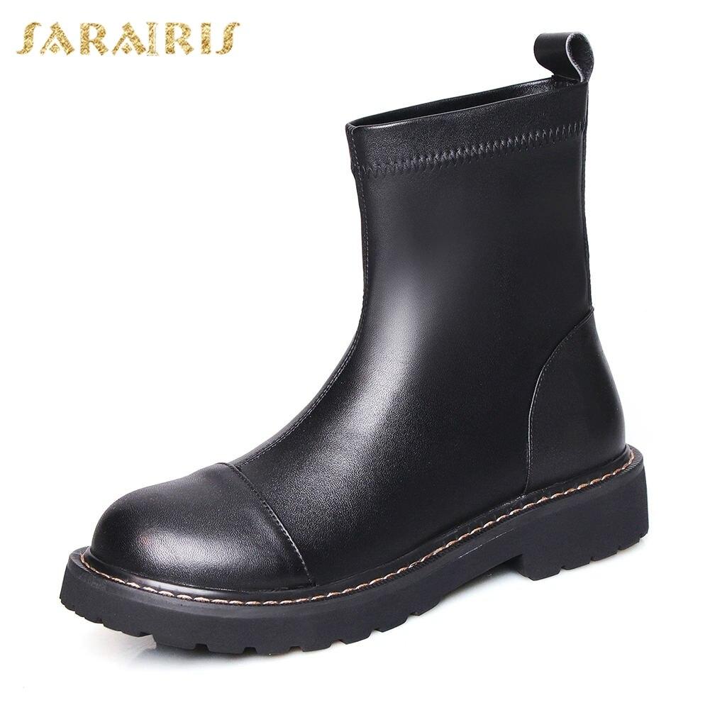 Sarairis marque Design Top qualité grande taille 42 véritable cuir Chunky talons sans lacet bottes femme chaussures femmes chaussures décontractées bottes