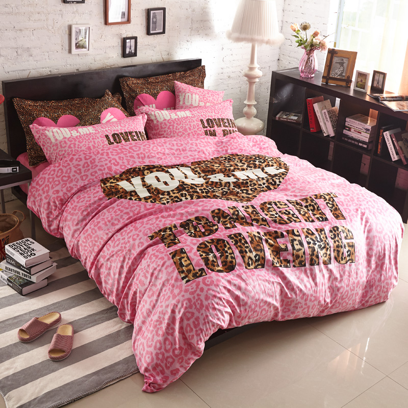 Fashion Pink Vitoria Four Pieces Bedding Sets Super Soft