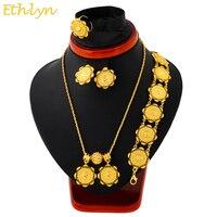 Ethlyn комплект ювелирных изделий из эфиопских монет золотого цвета ожерелье/серьги/Кольцо/браслеты Habesha Африканские свадебные подарки S111