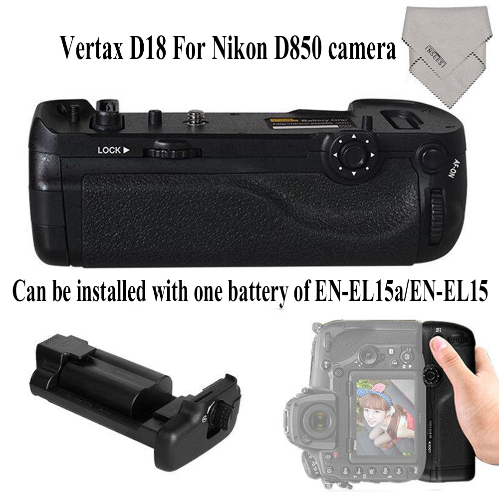 INSEESI Professional Vertax D18 Battery Grip For Nikon D850 Digital SLR Camera as EN-EL15a EN-EL15(Replacementfor Nikon MB-D18) meike mk d750 battery grip pack for nikon d750 dslr camera replacement mb d16 as en el15 battery