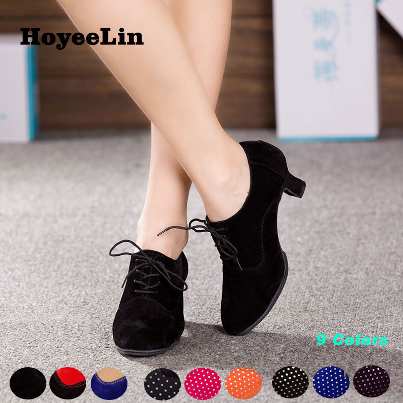 Hoyeelin Dance-Shoes Tango Party Closed-Toe Women Ladies Standard Lace-Up Waltz Rumba title=