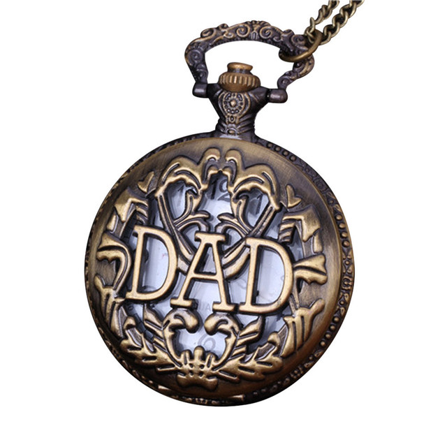 2018 hollow Shape DAD Vintage Chain Retro The Greatest Pocket Watch Necklace For