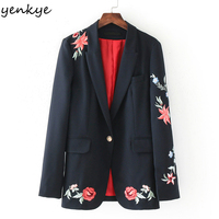 Fashion Rose Embroidery Blazer Feminino Long Sleeve Notched Blazer Women European Style Single Button Office Lady