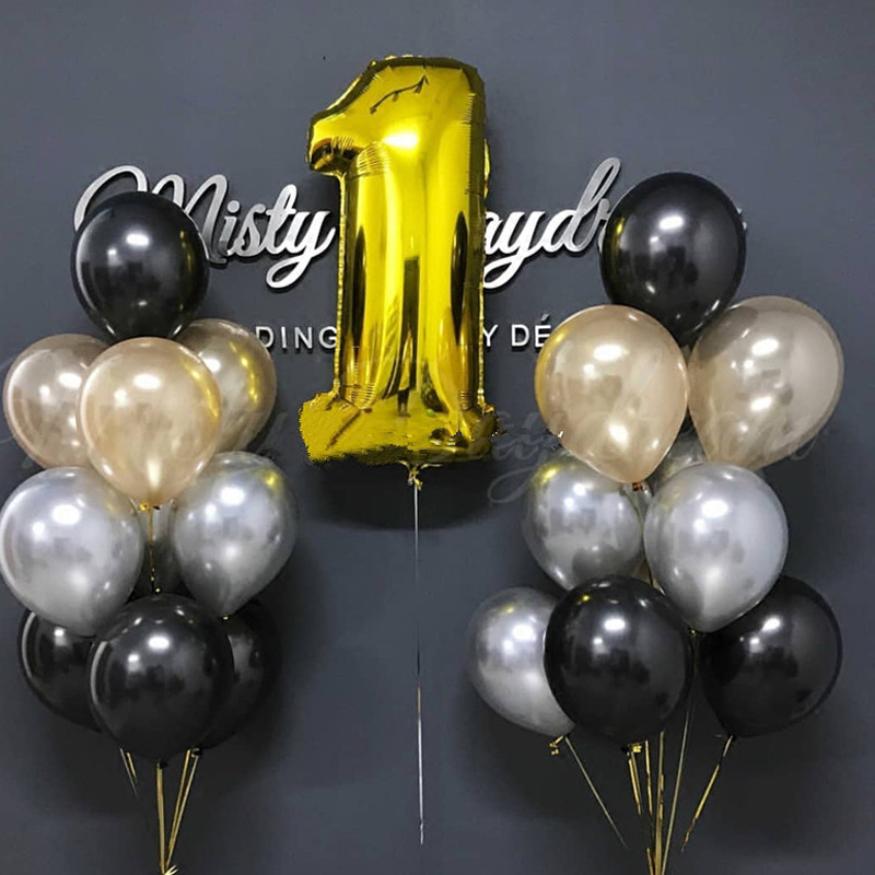 enjoy moment gold silver number party aluminium foil <font><b>ballon</b></font> birthday wedding horse decoration festival <font><b>support</b></font> image
