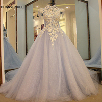 LS47001 Formal evening gowns dresses lace up back short sleeves high neck beaded lace ball gown long evening dress light blue