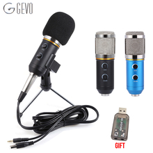 GEVO MK F200FL Audio Sound Recording Microphone Profesionales Wired Condenser Studio With Foldable Tripod Usb Mic For Computer mk f200fl 3 5mm audio wired sound recording condenser microphone with shock mount holder clip for gaming video chatting