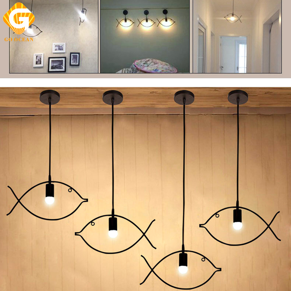 Pendant lights stair light fish shape modern loft lights indoor lighting bedroom cafe restaurant hanging lamp for dining room