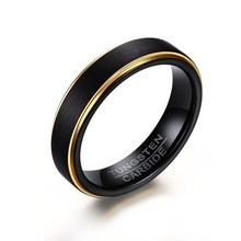 5mm Tungsten Carbide Two Tone Black Matt Finish Wedding Rings with Gold Color Edges Design Free Custom Engraving