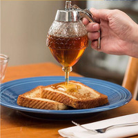 Hot Creative Home Acrylic Honey Pot Push Pure Natural Honey Spice Jar Biscuit Bread Honey Spoon