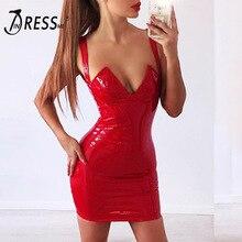 INDRESSME Sexy PU Spaghetti Strap Backless Deep V Women Party Dress Fashion Solid Mini Spring Women Dress Vestidos 2018 New