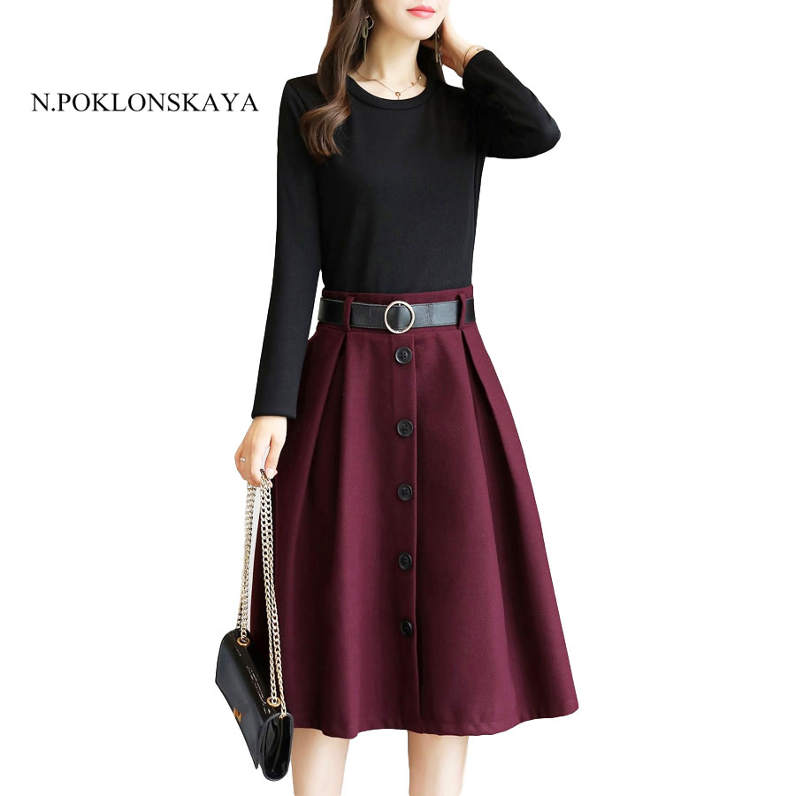 2017 Autumn Long-sleeved Patchwork Dress Women Elegant Button Pleated Work Office Dress Fall Party Vestido Plus Size Spring
