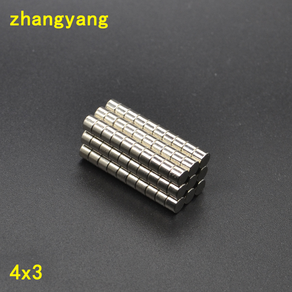 4x3 500PCS disc D4*3MM strong power small neodymium ndfeb permanent rare earth magnet fasterners 4mm x 3mm 4*3 4*3mm