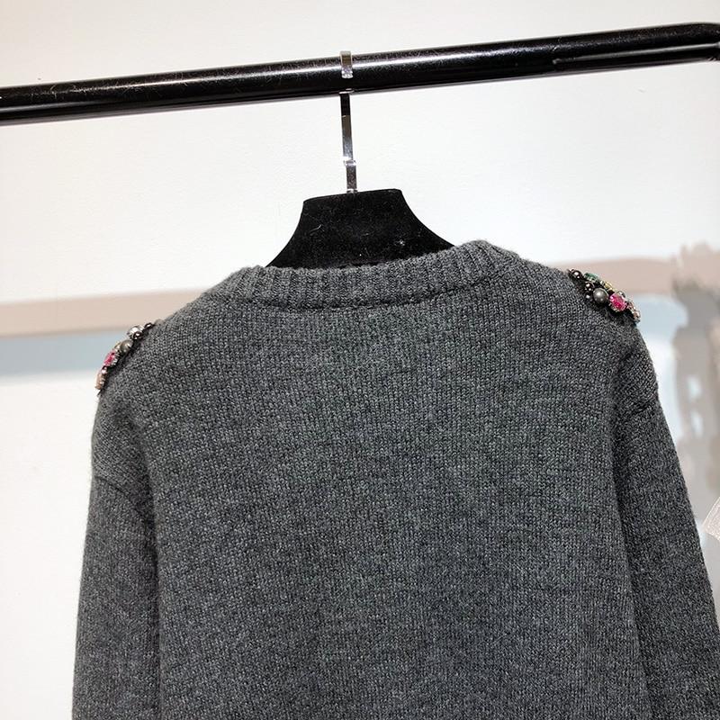 Hiver Gris Streetwear Pulls Y Mode Jumper De Chandails Diamants Femmes Chandail Perles 2018 1719 Main Automne wZS5twxH