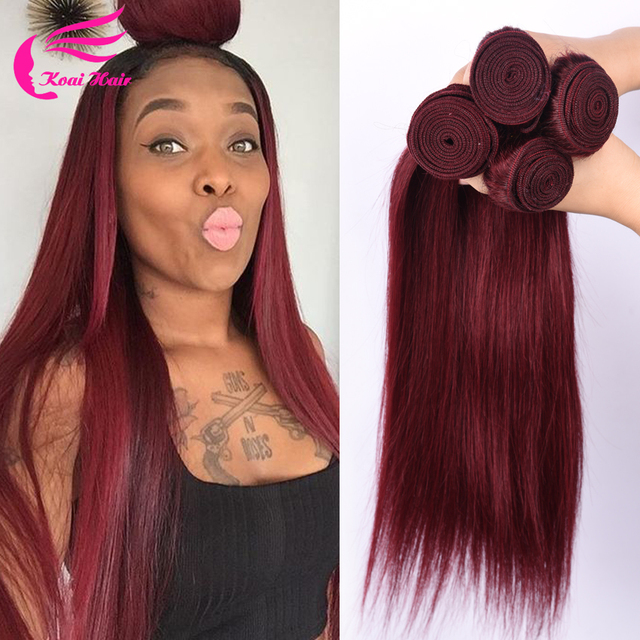 Burgundy Brazilian Straight Hair 4pcs Burgundy Brazilian Hair Weave