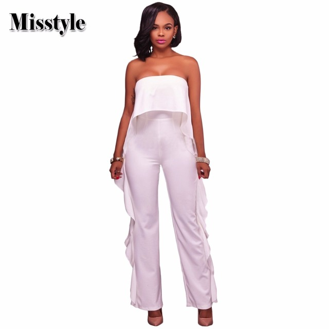 5501836240dd Misstyle Sexy Strapless Ruffles Jumpsuit Women Slash Neck Empire Waist  Jumpsuit Ladies Strapless Straight Jumpsuit Rompers Y031