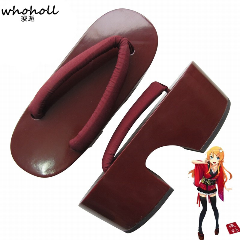 WHOHOLL Cosplay Geta Kimono Women Shoes Comiket Coser Design Wooden Sandals Costumes Red Thick Bottom Wooden Clogs Cosplay Shoes in Shoes from Novelty Special Use