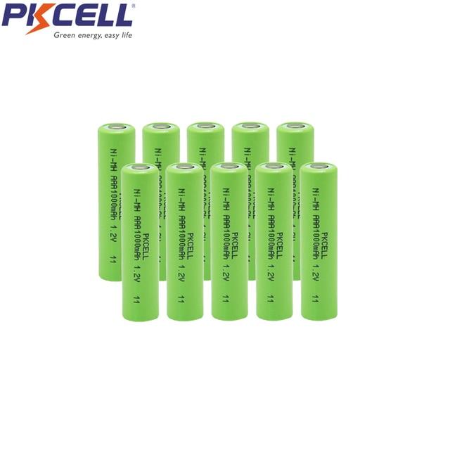 10 قطعة PKCELL NiMH بطارية AAA قابلة للشحن aaa 1000mah 1.2 فولت بطاريات سطح مستو لألعاب الكاميرا
