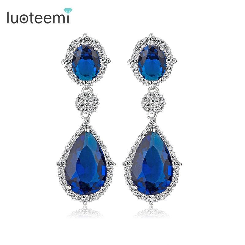 LUOTEEMI Wholesale Luxury 2016 New Brand Teardrop CZ Cryetsal Drop Earrings for Women Fashion Bridal Ear Jewelry
