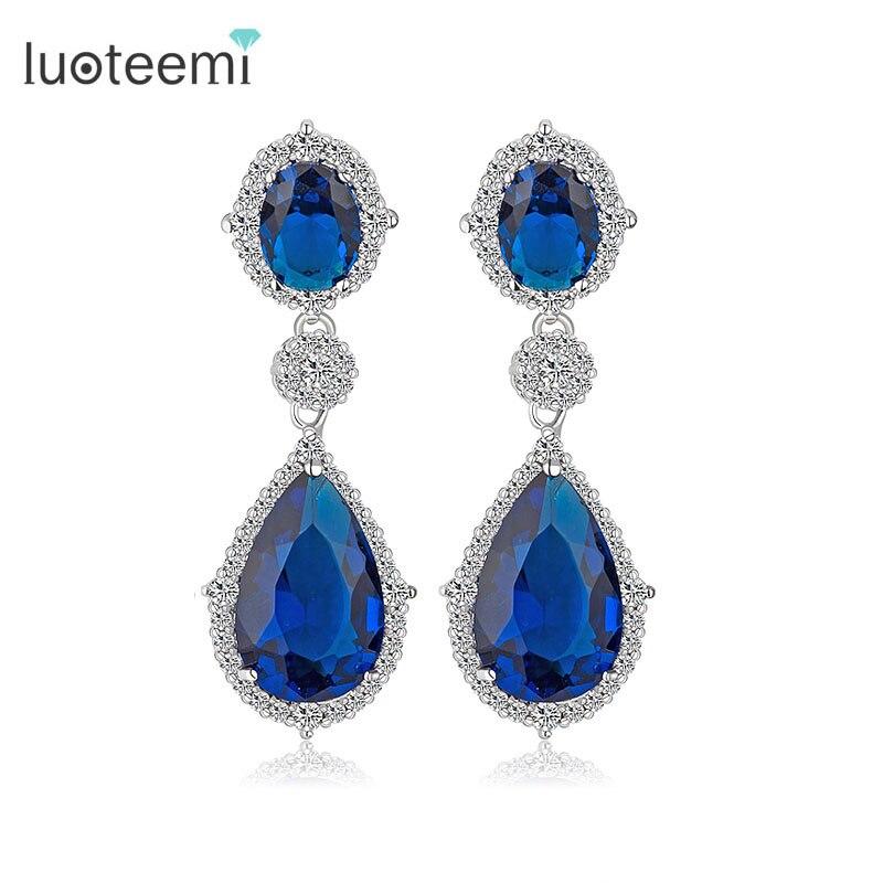 LUOTEEMI 도매 럭셔리 2016 새로운 브랜드 눈물 CZ Cryetsal 드롭 귀걸이 패션 신부 귀 보석