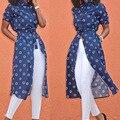 2017 calças de Brim Das Mulheres Denim Shirt Três Quartos Mangas Imprimir Dot Primavera Outono Slim Fit Longo Blusa Tops com Cinto H9
