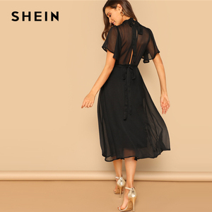 Image 2 - SHEIN Glamorous Black Mock neck Knot Back Sheer Panel Dress 2019 Spring A Line Butterfly Sleeve Stand Collar Elegant Dresses