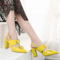 Ariari 2019 spring women pumps square high heel sandals buckle strap wedding shoes patent leather slingbacks ladies heels
