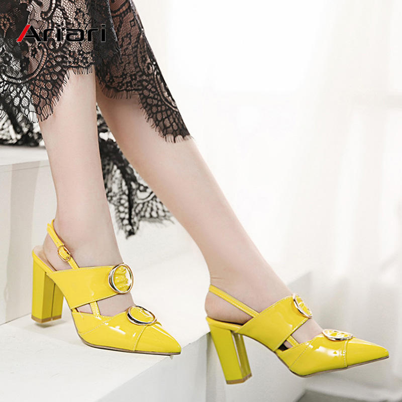 Ariari 2019 Spring Women Pumps Square High Heel Sandals Buckle Strap Wedding Shoes Patent Leather Slingbacks Ladies Heels