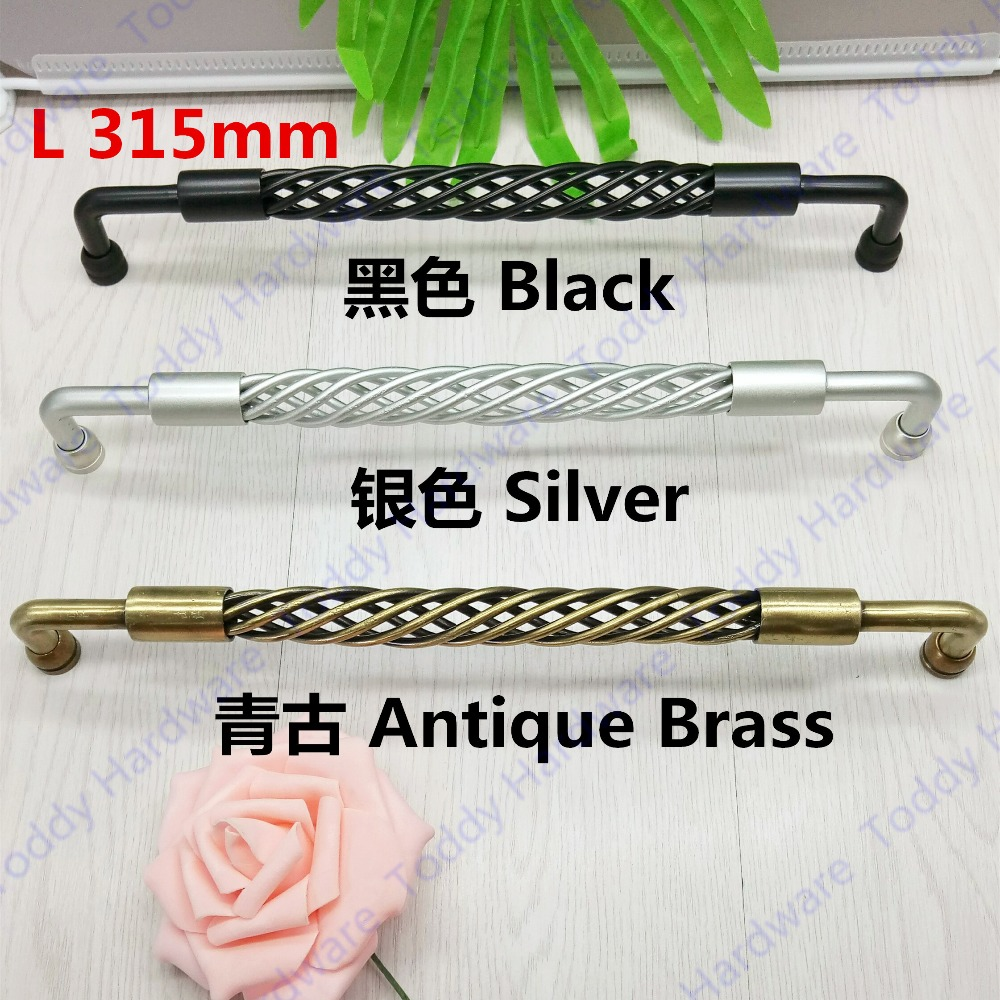 Hole CC 300mm Black/Antique Brass/Silver Length 315mm Birdcage furniture handle/pull/knob for doors/cabinets/drawers entrance door handle solid wood pull handles pa 377 l300mm for entry front wooden doors