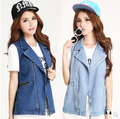 New 2017 Women's Fashion cowboy zipper Vest,Denim Vests Sleeveless Jacket Jeans Women washed Waistcoats