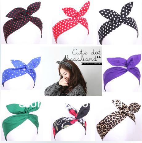 Free Shipping Retro Wire Headband Head Hair Band Head Wrap Polka Dot