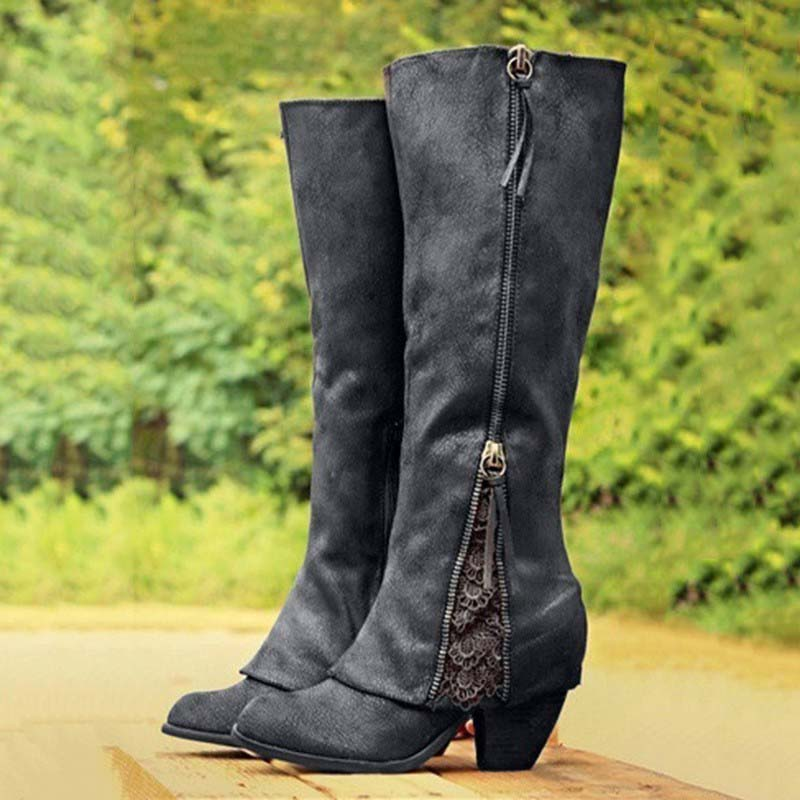 Image 2 - Boots Women Shoes Winter Knee High Boots Fold Over Design Lace Botas Mujer Ladies Shoes Botas Mujer Invierno 2019-in Knee-High Boots from Shoes