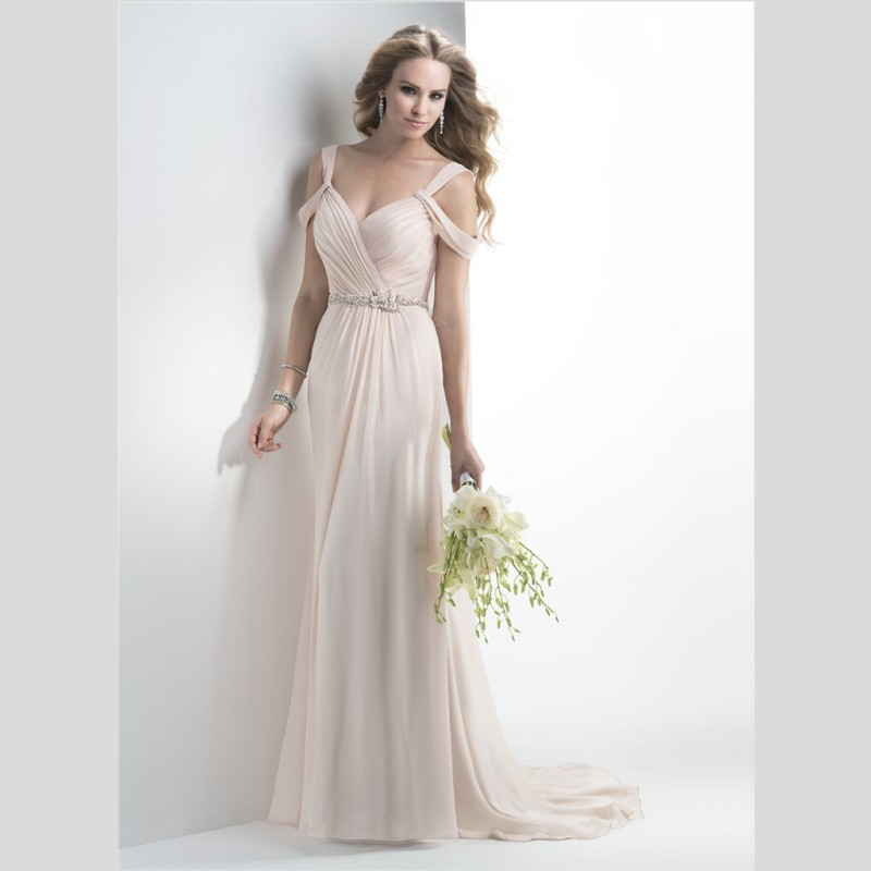 Vintage vestido de noiva Chiffon Bridal gown A Line Beach 2018 New Sweep Train Backless Beaded Robe De Mariee   bridesmaid     dresses