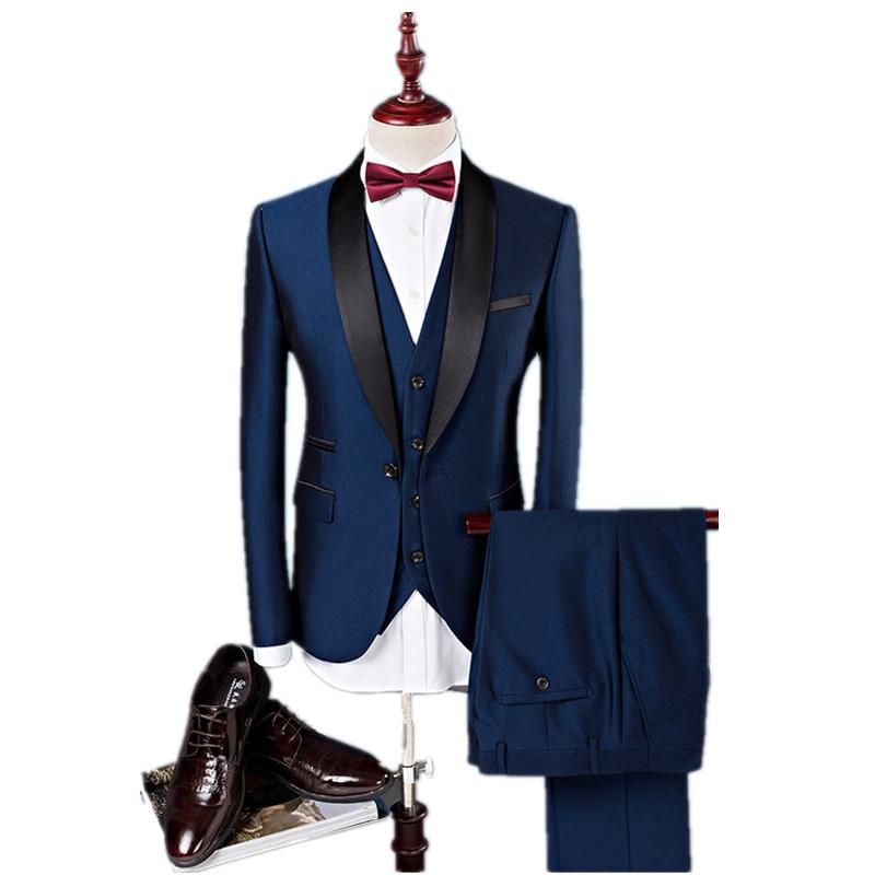(Veste + Pantalon + Gilet) Hommes de costume Slim Fit de mode loisirs costumes de robe de mariage Homme D'affaires Hommes blazers robe taille S-4XL