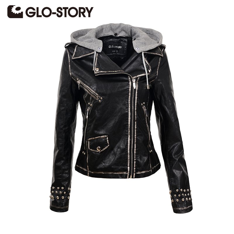 GLO-STORY 2018 Winter Women Hooded PU Leather Jacket Fashion Cool Motorcycle Black Slim Outwear Coats 5592