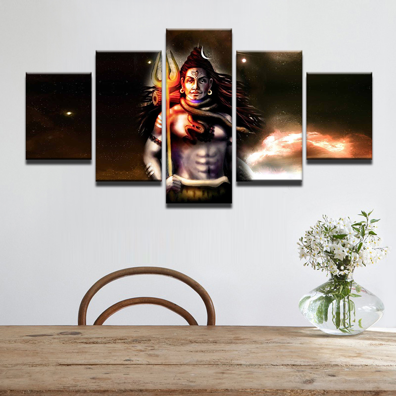 5 Piece India God Shiva Painting Canvas HD Print Poster Modular