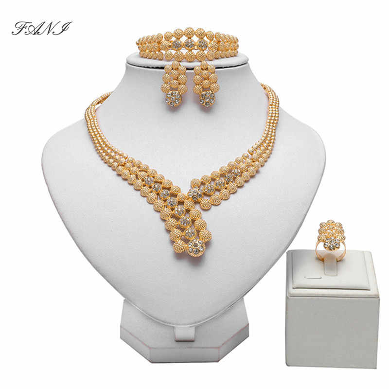Fani Fashion African Beads Jewelry Set Wholesale italian jewelry sets for women Brand Nigerian Wedding woman Bridal Bijoux