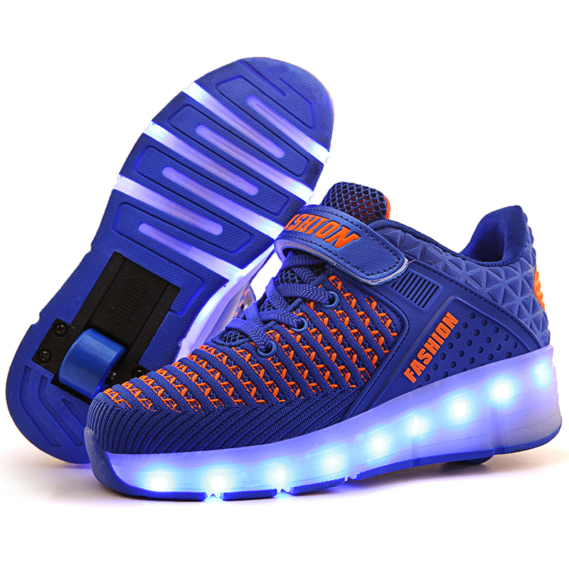 Kid's LED Flashing Double Roller Skate Shoes Glowing Running Shoes Luminous Sneakers Women Light Up Shoes Can Charging