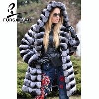 FURSARCAR Новинка зимы Для женщин натуральный мех пальто мода Стиль кроличьего меха пальто с меховым капюшоном роскошные толстые теплые кролик