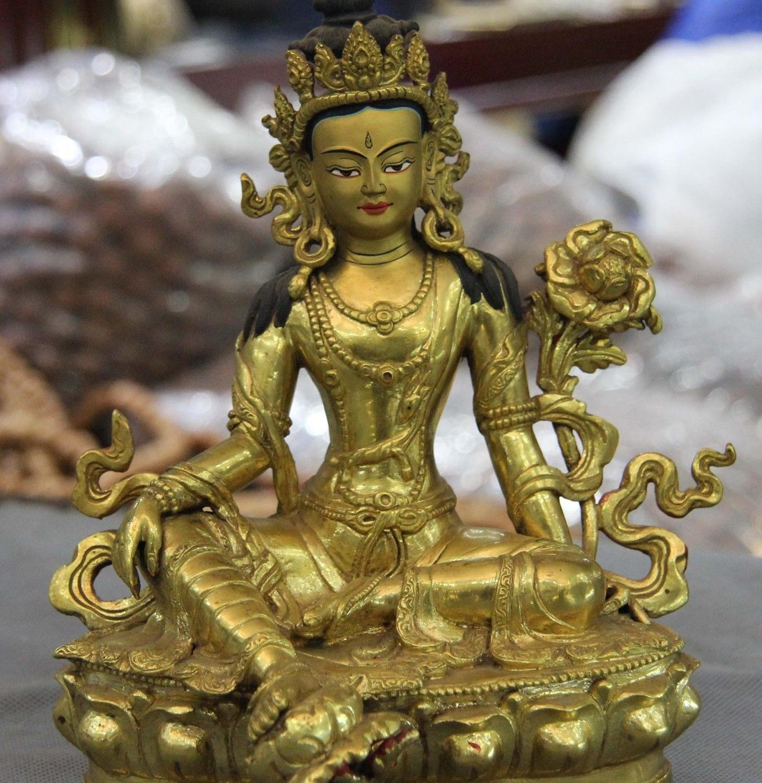 Tibet 100% Bronze pur or 24 K doré vert Tara Guan Yin kwan-yin Statue de déesse