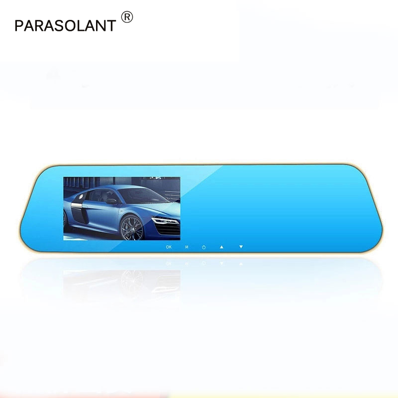 лучшая цена PARASOLANT Full HD 1080P Rearview Mirror Driving Recorder Super Wide Angle Car Camera HD Night Vision Dash Cam 4.3 Inch Recorder