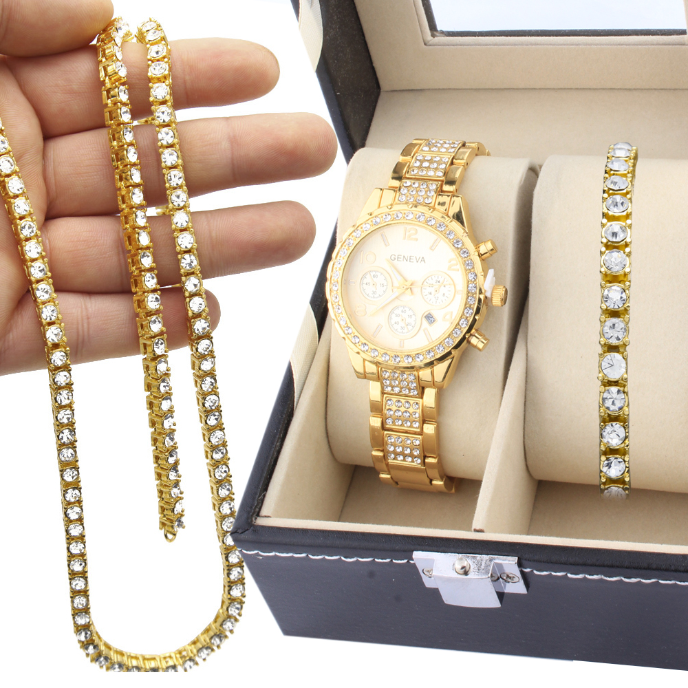 Us 37 0 Party Necklace Bracelet Men Special Offer Jewelery Set Hip Hop Gold Color Watch 1 Row Rhinestones Chain Combination In Jewelry Sets