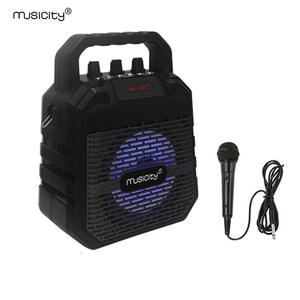 Musicity Outdoor Mini Portable Karaoke Bluetooth Party Speaker with Microphone Bass Music Subwoofer BT FM Radio USB SD 7W