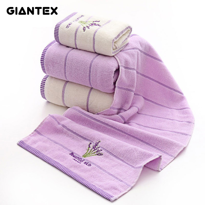 GIANTEX Lavender Cotton Towel Set Bathroom Super Absorbent Bath Towel Face Towels For Adults serviette de bain toallas recznik