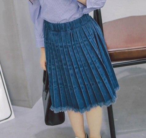 Fashion New Girls Skirt 2017 Kids Summer Skirt Denim Baby Cotton Toddler Pleated Skirt Children Jeans Casual Skirt, 2-7Y