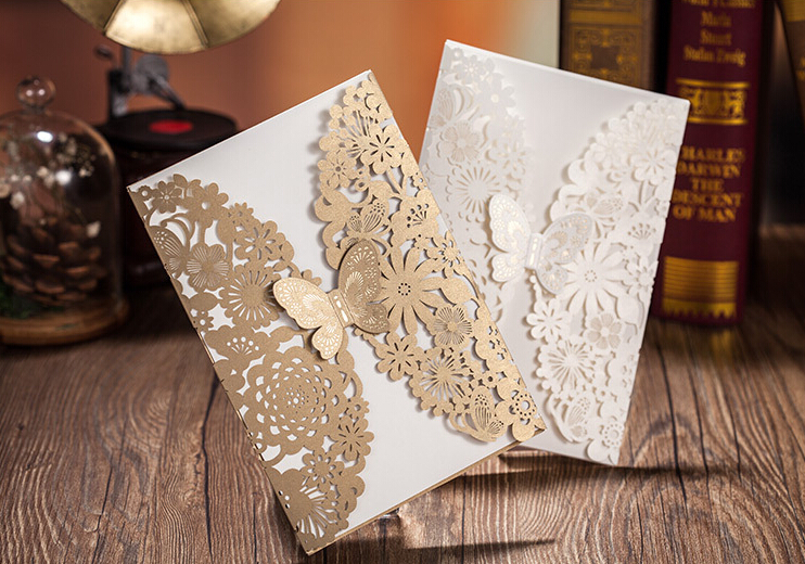 Butterfly Shape Vintage Handmade Wedding Invitation Cards