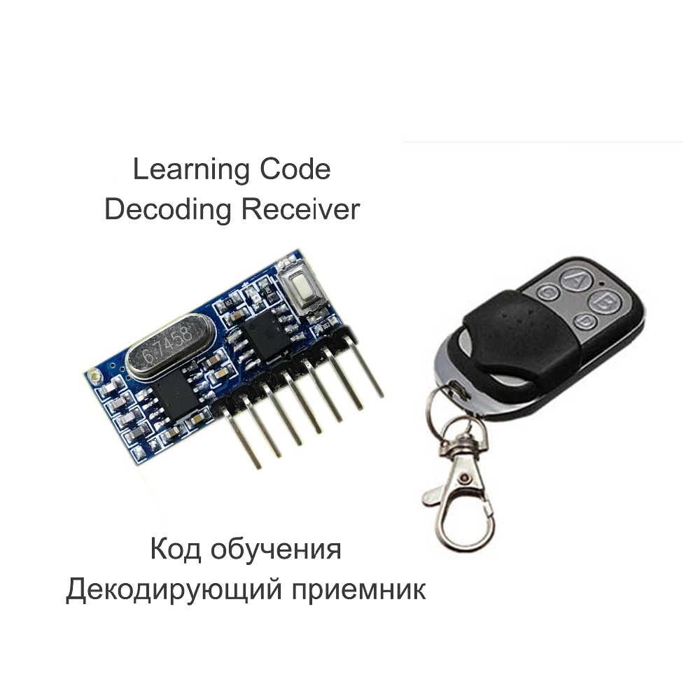 433 Mhz Remote Control and 433Mhz Wireless Receiver Learning Code 1527 Decoding Module 4Ch output With Learning Button chunghop rm l7 multifunctional learning remote control silver